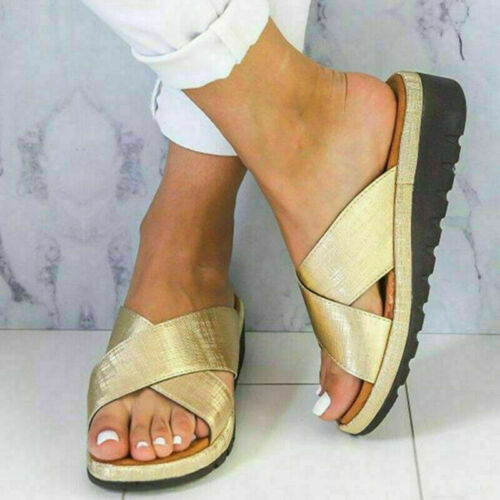6 Colors Womens Wedge Heel Slipper Sandals Summer Beach Mules Slider Shoes Size