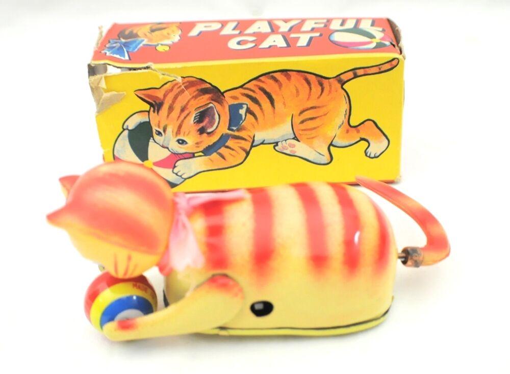 Juguete Gato Vintage Con Caja Lúdica bonito