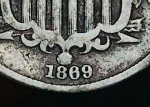 1869/69 Shield Nickel 5 Cents 5C ERROR Civil War Era Good Date US Coin CC5459