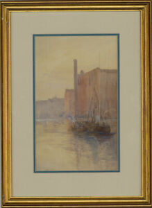 F-M-B-Framed-Early-20th-Century-Watercolour-Town-River-Scene-with-a-Boat