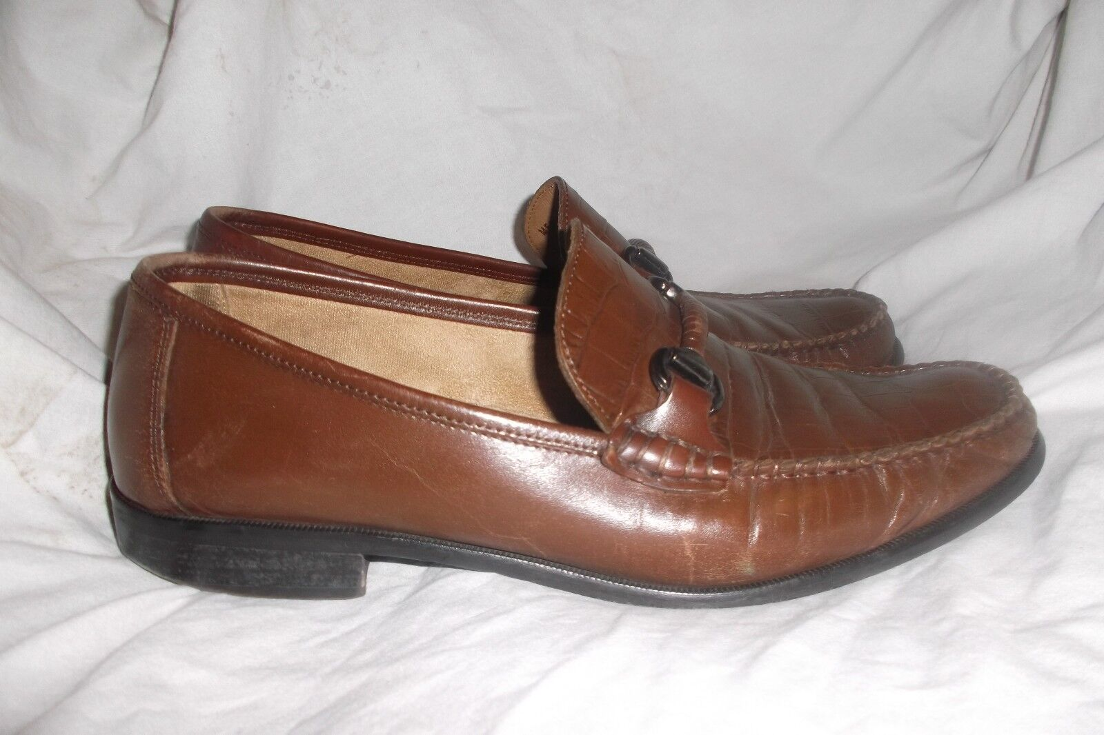 FLORSHEIM SARASOTA MENS MOC-TOE BIT LOAFER CROCO PRINT LEATHER SZ 10.5 D zapatos