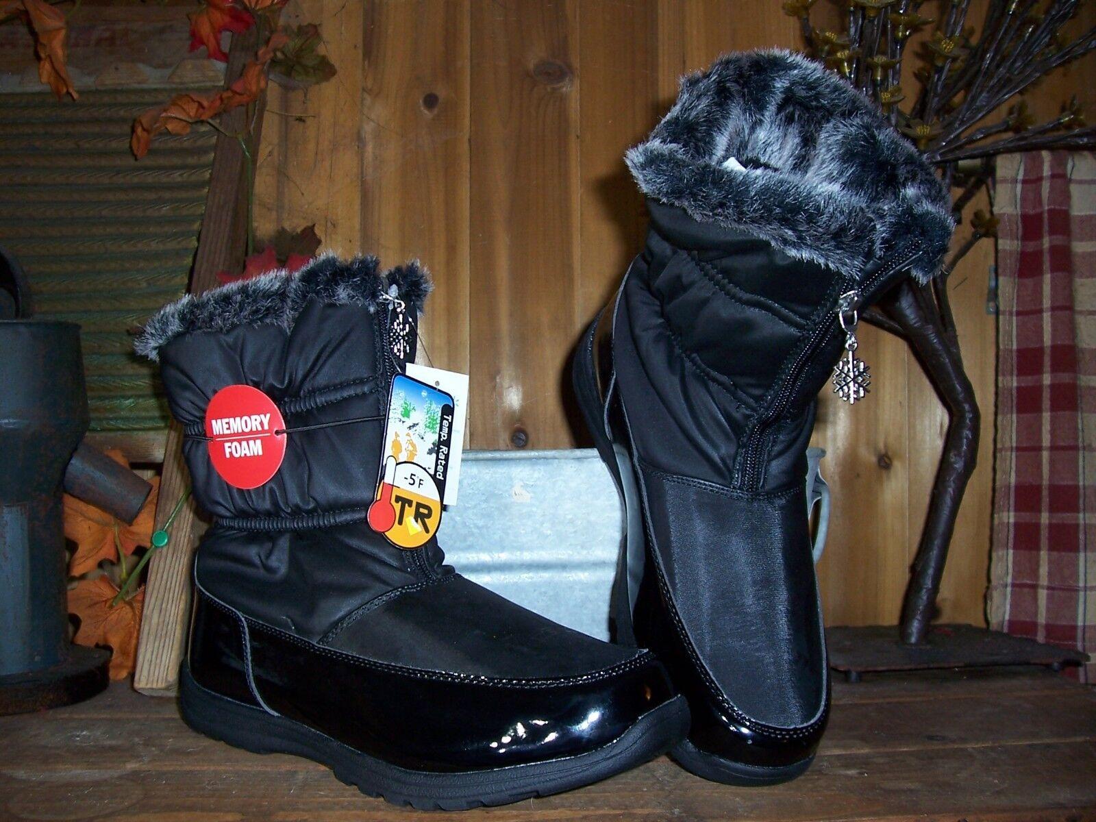 LADIES MEMORY FOAM WINTER BOOTS SIZE 9 SNOWFLAKE BLACK SNOWFLAKE 9 DESIGN ZIPPER FUR TOP c7a913