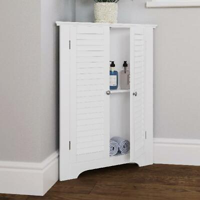 Bathroom Corner Medicine Cabinet White Free Standing Storage Space Saver Laundry Ebay