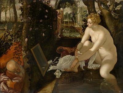 Huge Oil painting nude bathing Susanna with elders before mirror in landscape