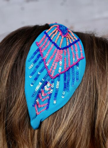 Details about  /Parker Sparrow Turquoise Blue /& Coral Beaded Sequin Knot Headband