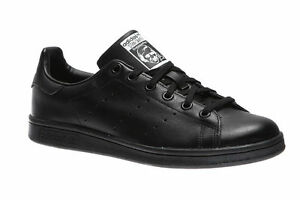NEW Adidas Originals Stan Smith J TRIPLE BLACK LEATHER Youth Shoes ... 26aceec93