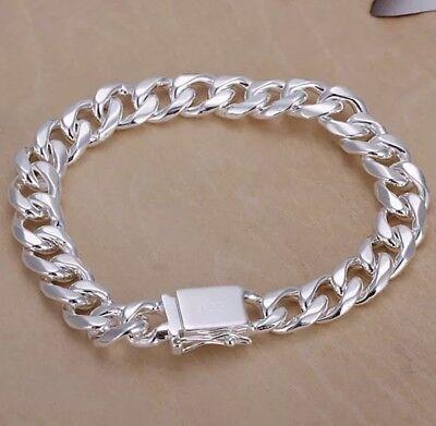 """S925 Sterling Silver 10mm 8"""" Chain Bracelet For Men BRA-82"""