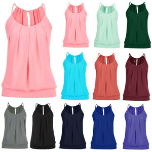 Women-Halter-Neck-Summer-Tank-Top-Ladies-Casual-Loose-Fit-Vest-Blouse-Cami-S-5XL