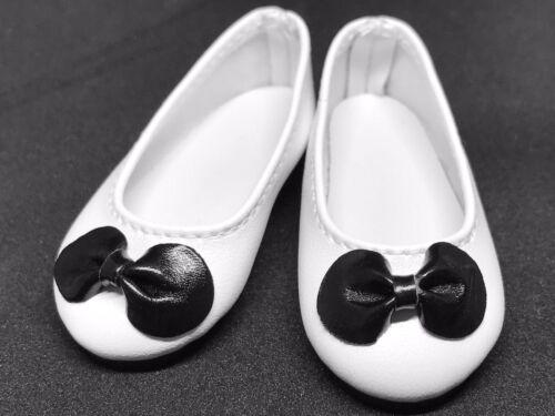 White Black Bow Flat Ballet Doll Shoes for 1/4 MSD BJD Minifee, Resinsoul