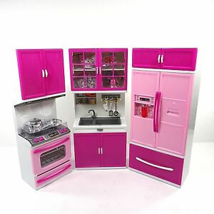 Barbie Doll Kitchen Play Set Toy Kids Toddler Girl Cook Hostess