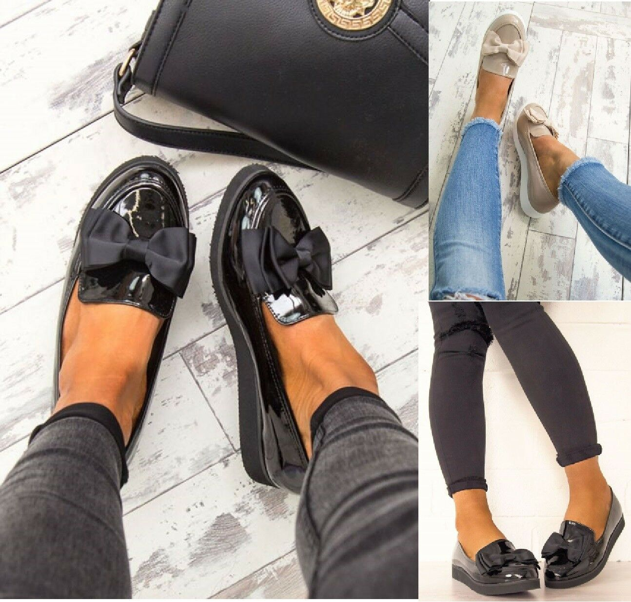 LADIES Mujer FLAT LOAFERS WORK BOW CHUNKY SOLE SCHOOL LOAFERS FLAT CREEPER Zapatos Talla 3-8 a918e4