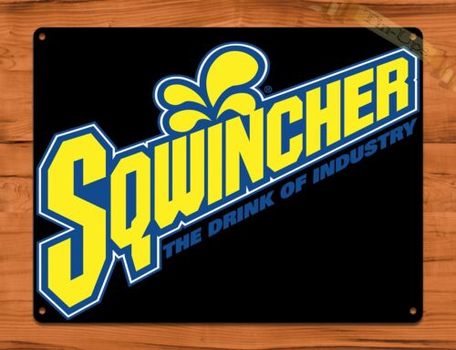 "/""Squincher Cola/"" Vintage Soda Ad Garage Alcohol TIN SIGN"