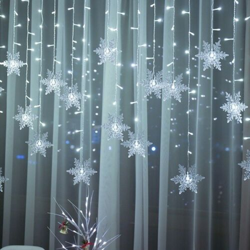 plug in 10ft 3.5m Christmas Fairy 96 LED Curtain String Lighting Party Snowflake
