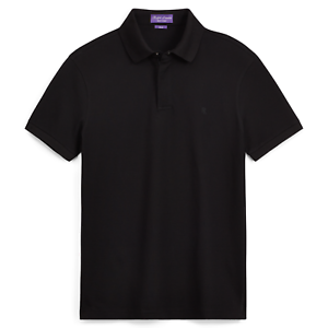 375-Ralph-Lauren-Purple-Label-Black-Zip-Placket-Stretch-Pique-Polo-Sport-Shirt