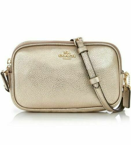 41d5148badf1 Coach Platinum Crossbody Clutch Leather Bag Double Zip 59952 for sale  online