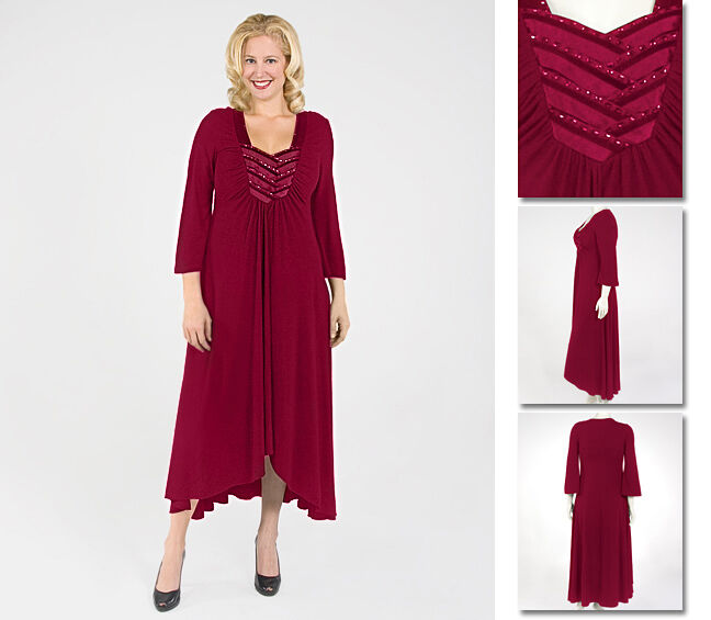 NEW Zaftique SATIN INTERLACED Dress GARNET Red 2Z 6Z   20 24 28 2X 3X 4X 5X 6X