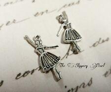 40 Ballerina Ballet Charms Dancing Dancer Charm Antique Silver Tone 28x21 2064