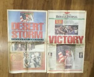 2-GULF-WAR-Newspapers-1991-A-PIECE-OF-HISTORY-VG-Condition