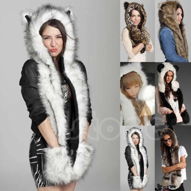 HOT Animal Faux Fur Hat Fluffy Plush Cap Warm Winter Hood Scarf Shawl Glove Dint