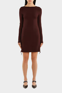 NEW-MCQ-Alexander-McQueen-Eyelet-Mini-Dress-Wine