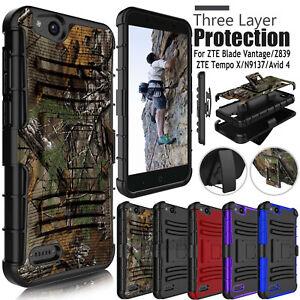 wholesale dealer 6e9de bc4ba Details about For ZTE Blade Vantage / Avid 4 Z855 / Tempo X Rugged Hard  Armor Phone Case Cover