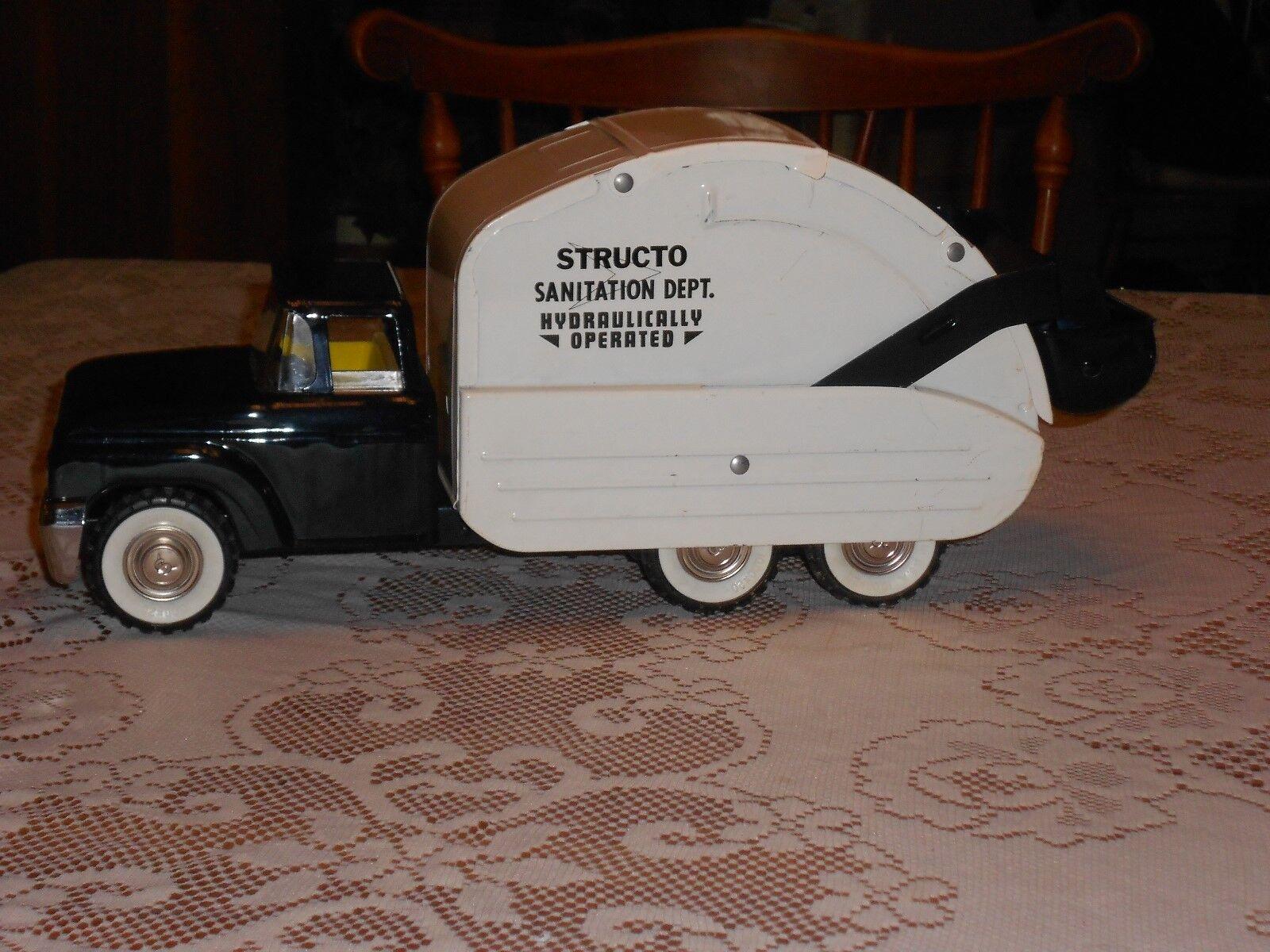 Vintage années 1960 Pressed Steel Structo Sanitation Dept. HYD. Camion Poubelle
