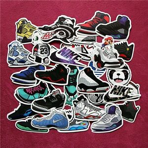 10 Air Jordan and Foamposite stickers for Laptop, skateboard, car, luggage etc.