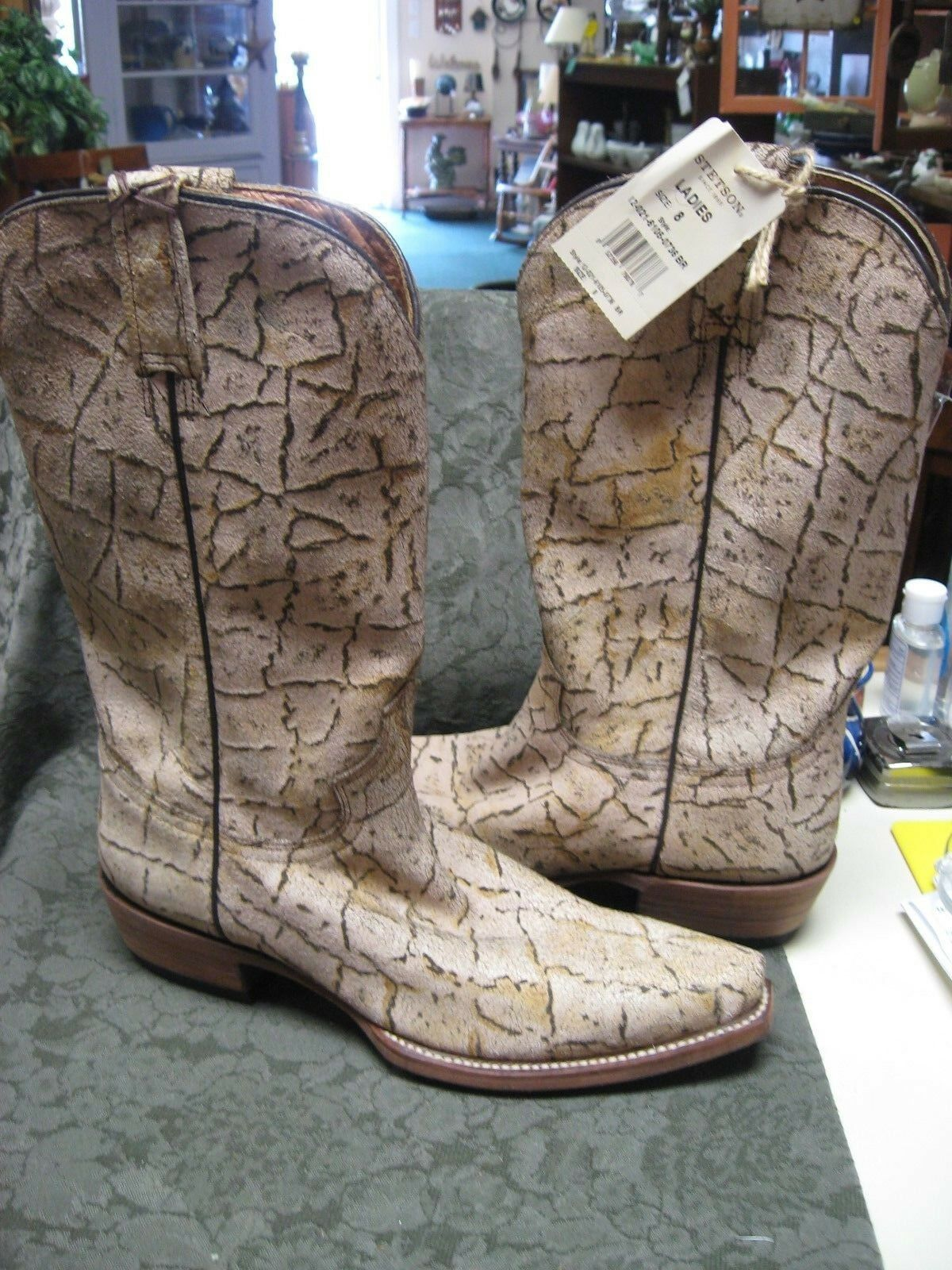 STETSON NEW Ivory Brown Brown Brown Distressed Crackled Bark Leather Western Boots Womens 8 b088e7
