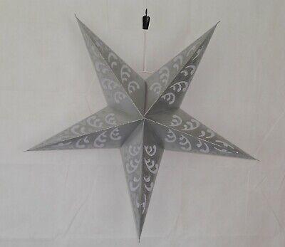 Diwali Noel Mariage 5 Point Papier Etoile Abat Jour Argent Avec Paillette Ebay