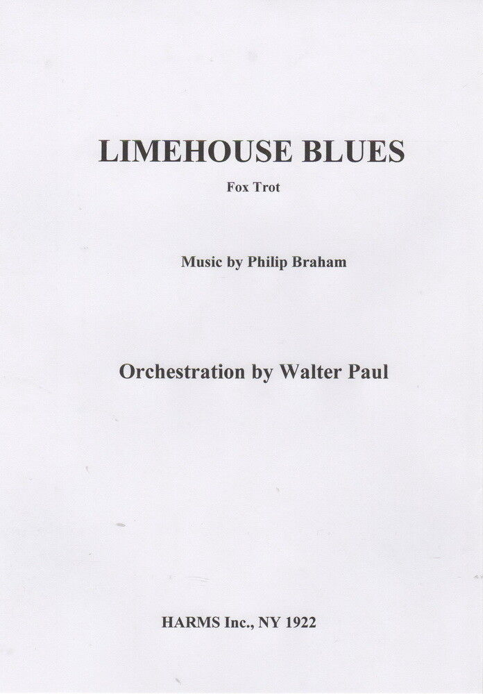 Limehouse Blaus, Vintage Walter Paul Orchestra Chart 1922