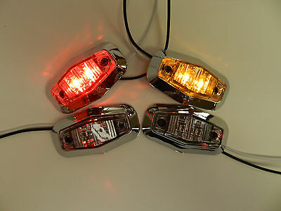 "Red LED Clearance Light with wire and bracket 1/""x4/"""