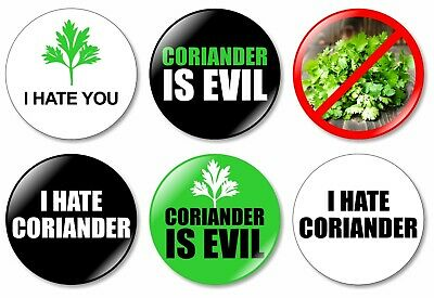6 x I Hate Coriander 32mm BUTTON PIN BADGES Evil Coriander Hate Weed Gift Bad