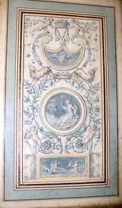 antique-original-1700-039-s-Italian-fresco-design-figural-gouache-drawing-painting
