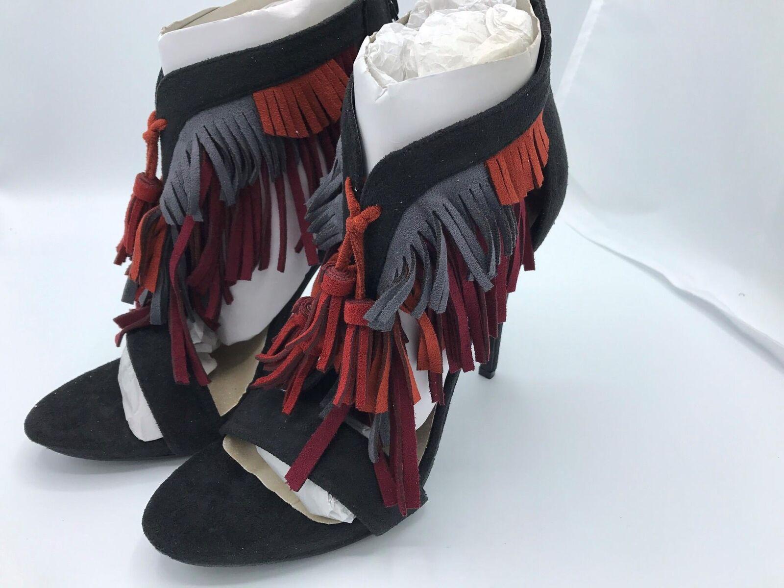 C Label Napoli 28 Fringed Heel (1532) Black w/Multi Fringes Size 10