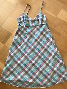 Esprit Kleid Sommerkleid Trägerkleid Karo bunt blau grün ...