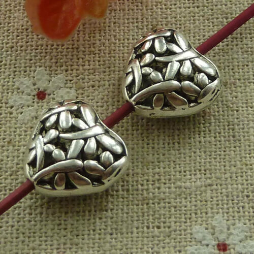 Free ship 60 pieces tibetan silver heart hollow spacer beads 15x15mm L-2730