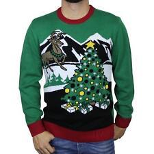 New Christmas Tree & Reindeer Ugly Christmas Sweater Light Up Motion Sensor  L