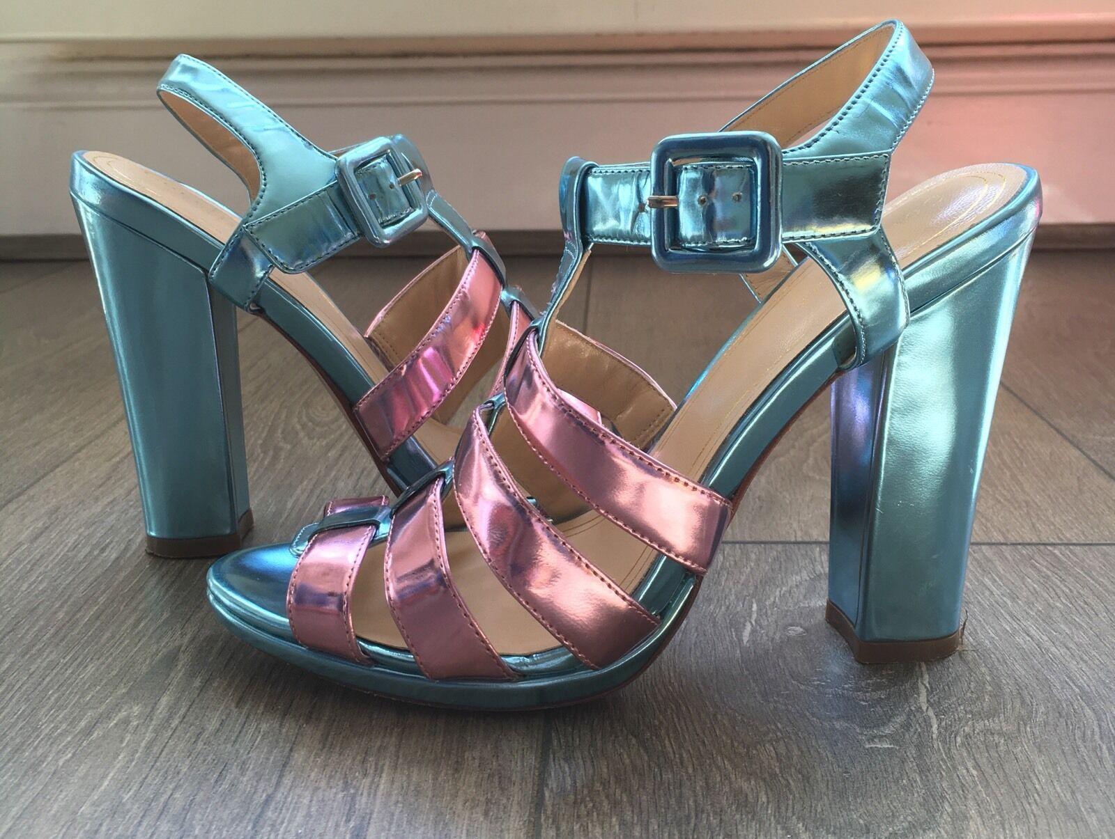 Cole Haan Melissa Tacones   Azul patente Rosa UK4 EU37 Correa Raro día noche