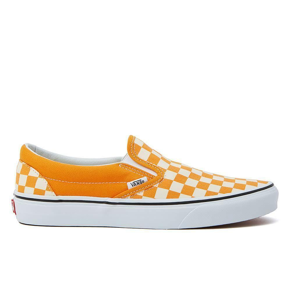 Vans UA Classic Slip-On Checkerboard Dark Cheddar Men Skate schuhe VN0A38F7ULI