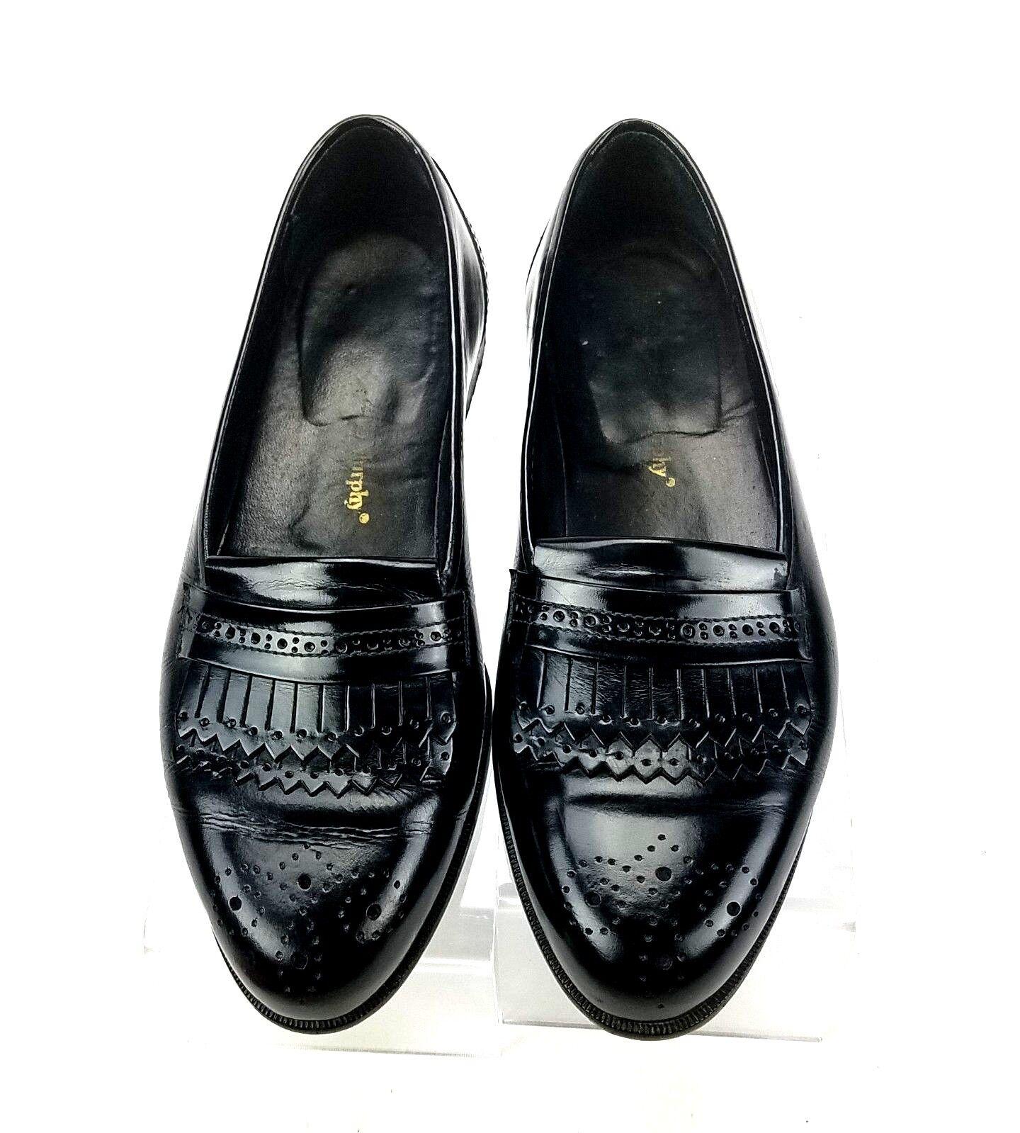 Johnston & Murphy Men's 8 W Black Double Kiltie Brogue Details Slip On Loafer