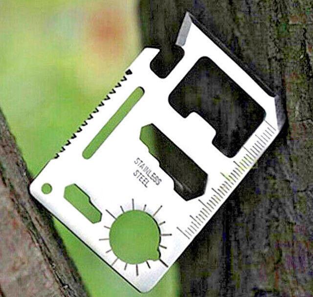 Outdoor Camping Multitool 10 Tools Scheckkarten Format Edelstahl Lederetui NEU