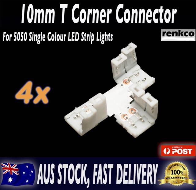4 Sets of 10mm LED Strip T Shape Corner Connector Set For 5050 SMD LED Strips