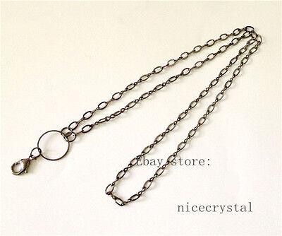 "1p 73cm(24"") length Gun Black Alloy Necklace Chain Fit DIY Floating locket"