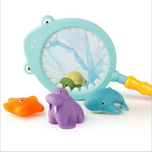 4pcs Bath Little Animals Floating Water Toys w// Fishing Net Children Toy 8C