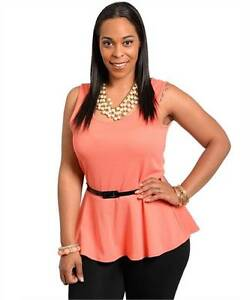 NEW-Sassy-stylish-Plus-Size-peplum-fit-n-flare-top-with-belt-SZ14-1xl