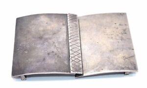 BIG-Vtg-STUDIO-Modernist-Sterling-Silver-HANDMADE-Belt-Buckle-fits-to-1-75-034-Belt