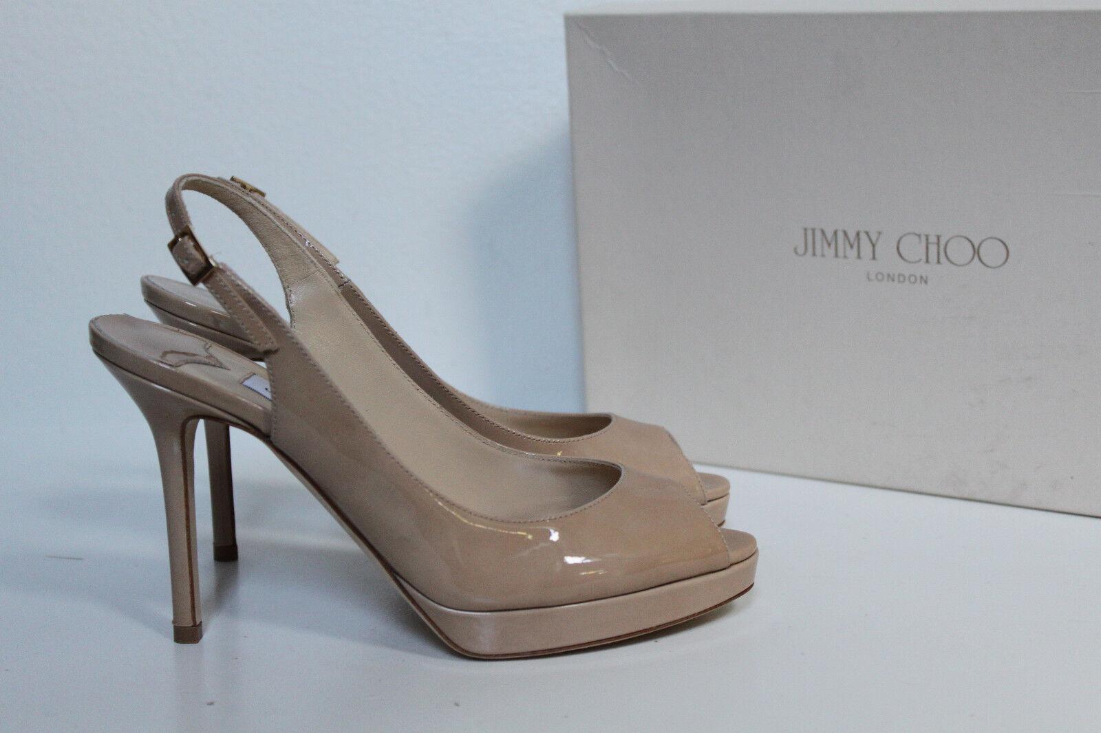Sito ufficiale Sz 6.5 6.5 6.5   36.5 Jimmy Choo Nova Nude Patent Peep Toe Slingback Pump Sandals scarpe  grandi offerte