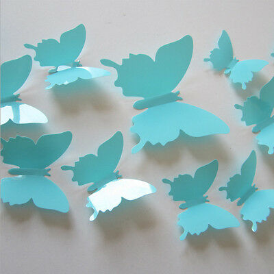 Cute 12Pcs 3D Butterfly Sticker Art Decal Wall Stickers Home Decor Decorations