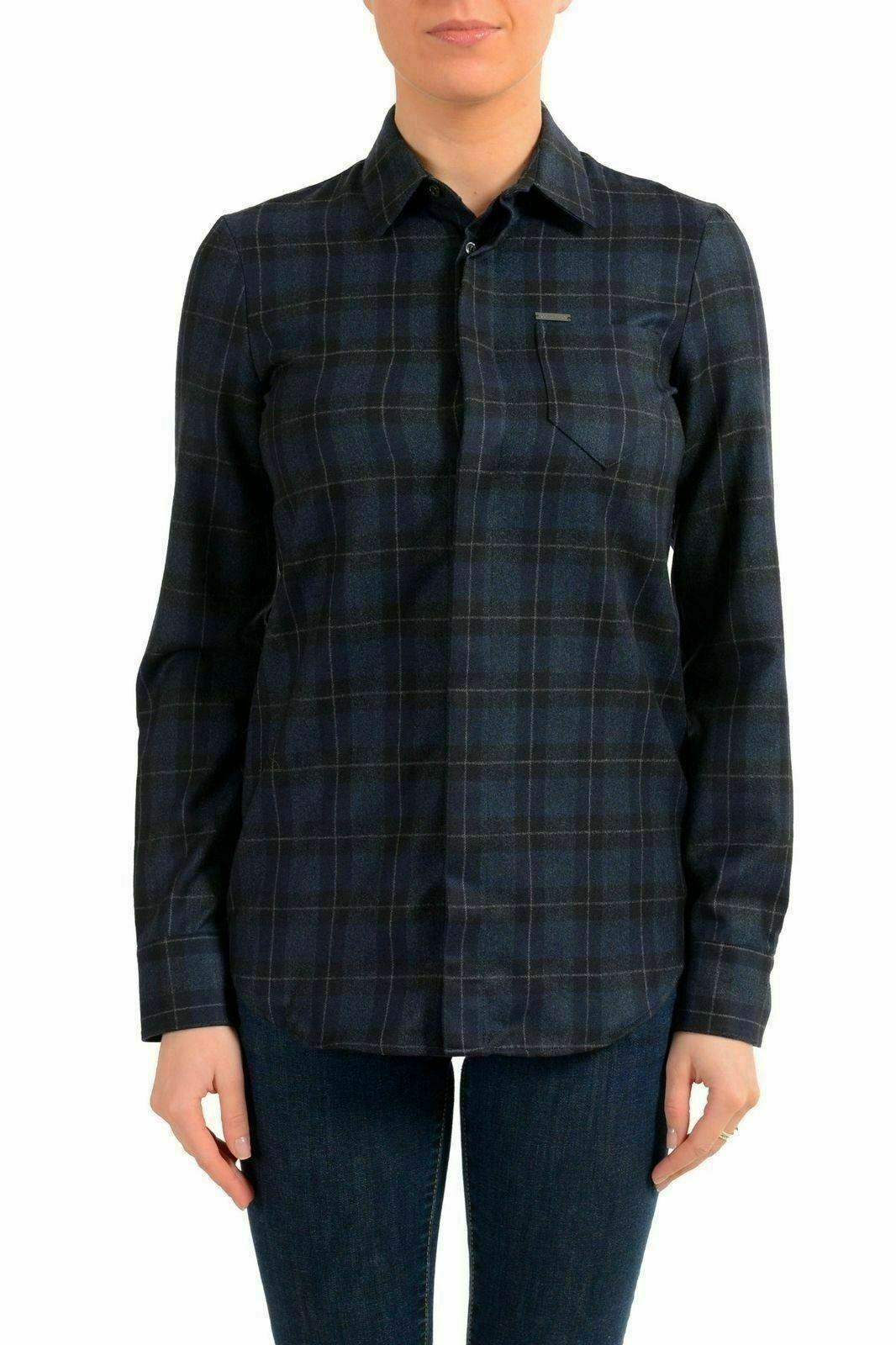 Dsquarot2 Woherren 100% Wool Plaid Long Sleeve Button Down Shirt US XS IT 38