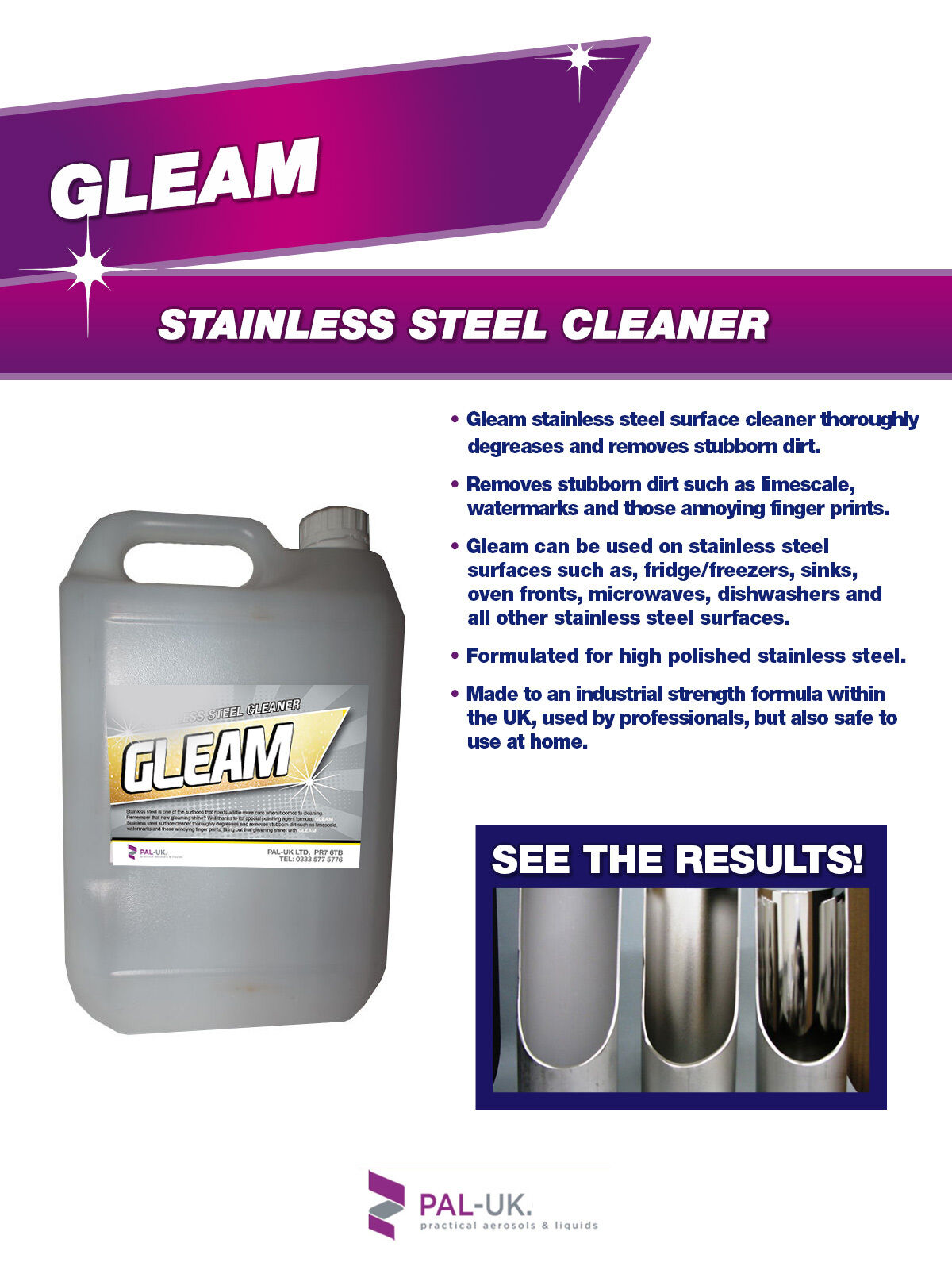 ALL STAINLESS STEEL KITCHEN APPLIANCE CLEANER - STUBBORN DIRT WATERMARKS REMOVER